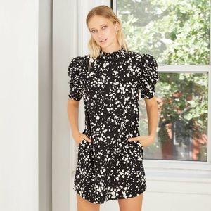 Women's Puff Short Sleeve Ruffle Dress-NWT CL